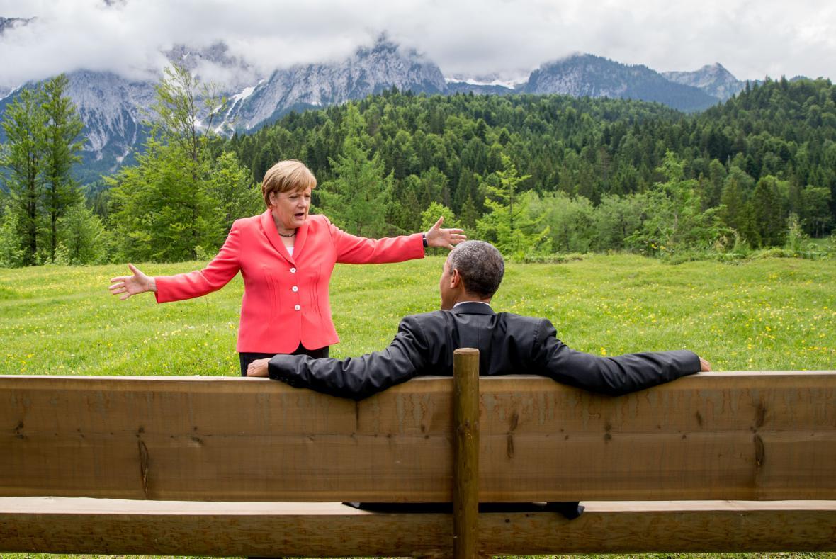 Angela Merkelová a Barack Obama na summitu G7
