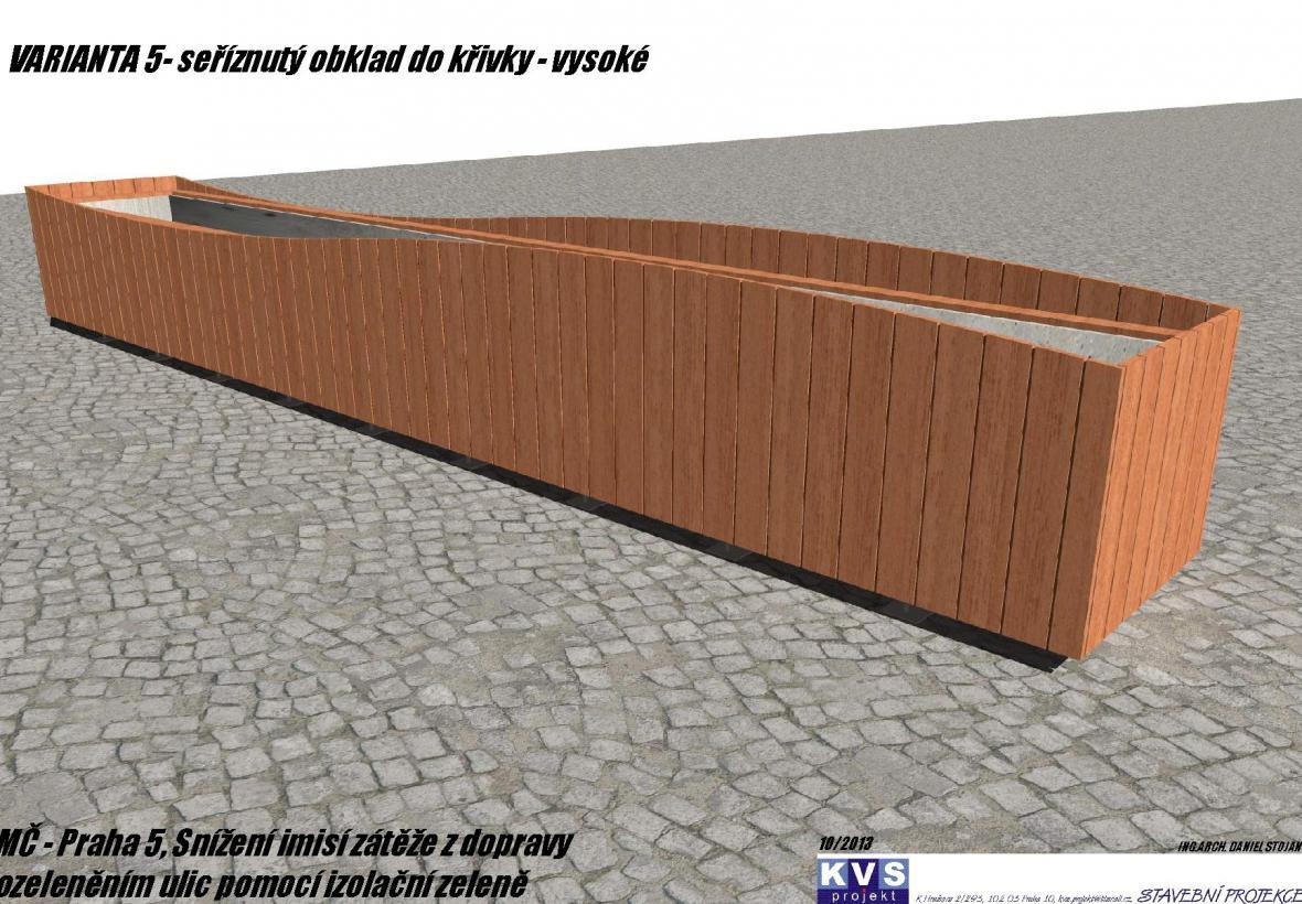 Vizualizace květináče obloženého dřevem
