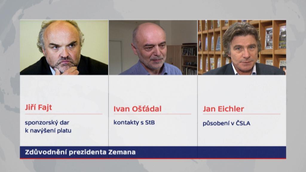 Tři kandidáti, které prezident odmítl jmenovat profesory