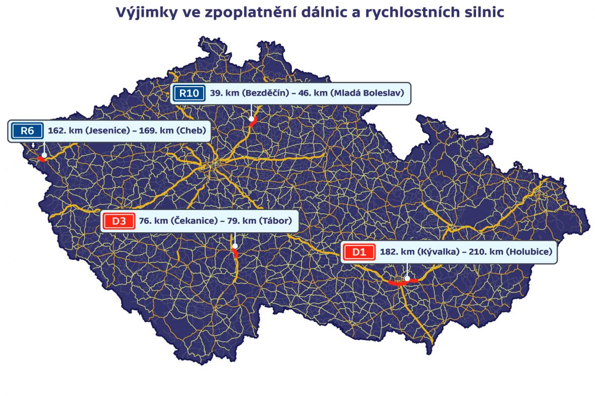 Výjimky za zpoplatnění dálnic a rychlostních silnic