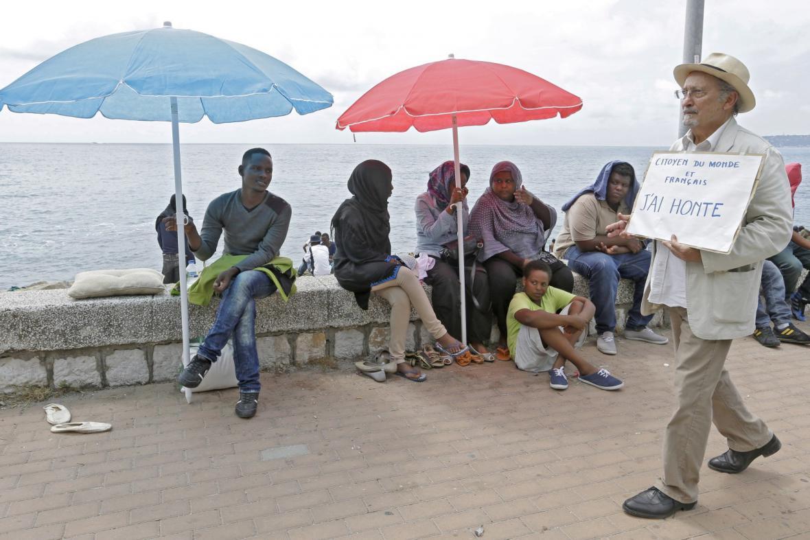 Uprchlíci na italsko-francouzské hranici
