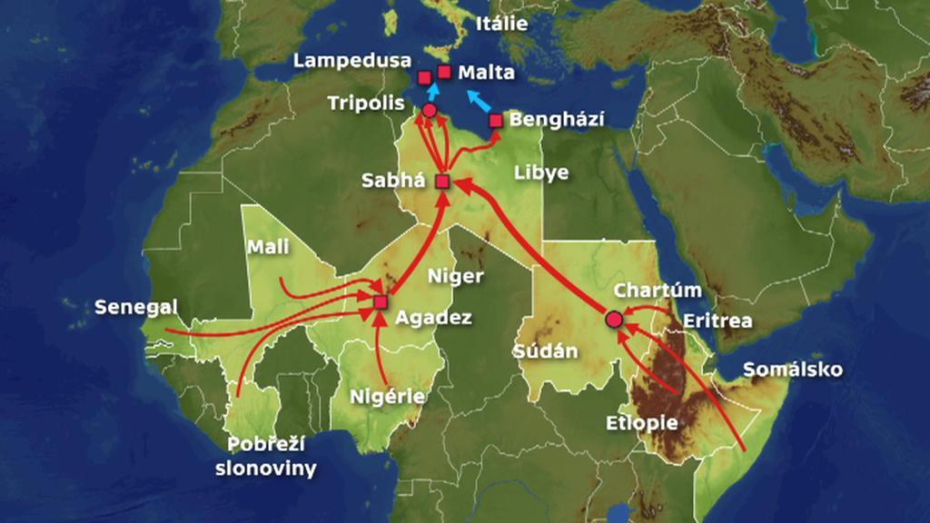 Trasy uprchlíků z Afriky
