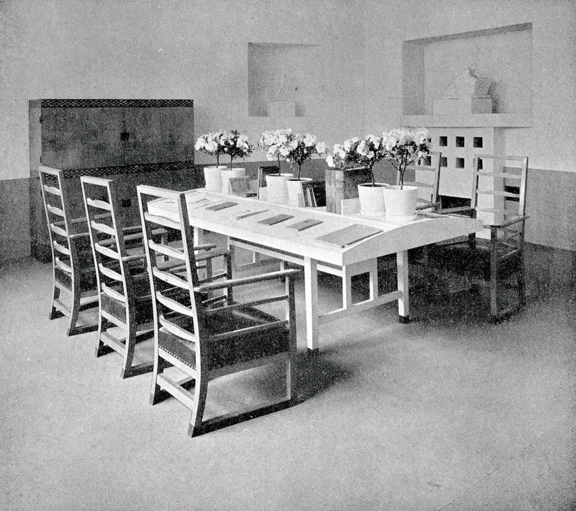 Interiér čítárny z výstavy Vídeňská secese