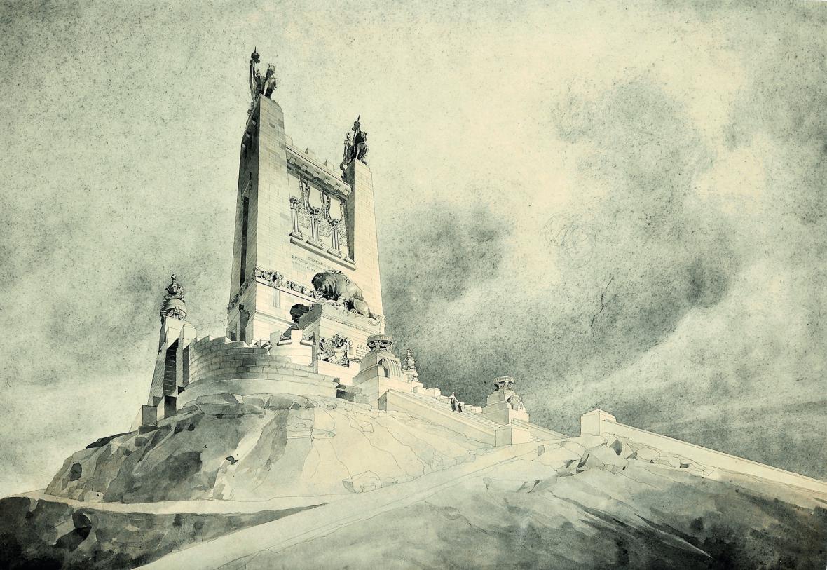 Soutěžní návrh památníku bitvy národů v Lipsku