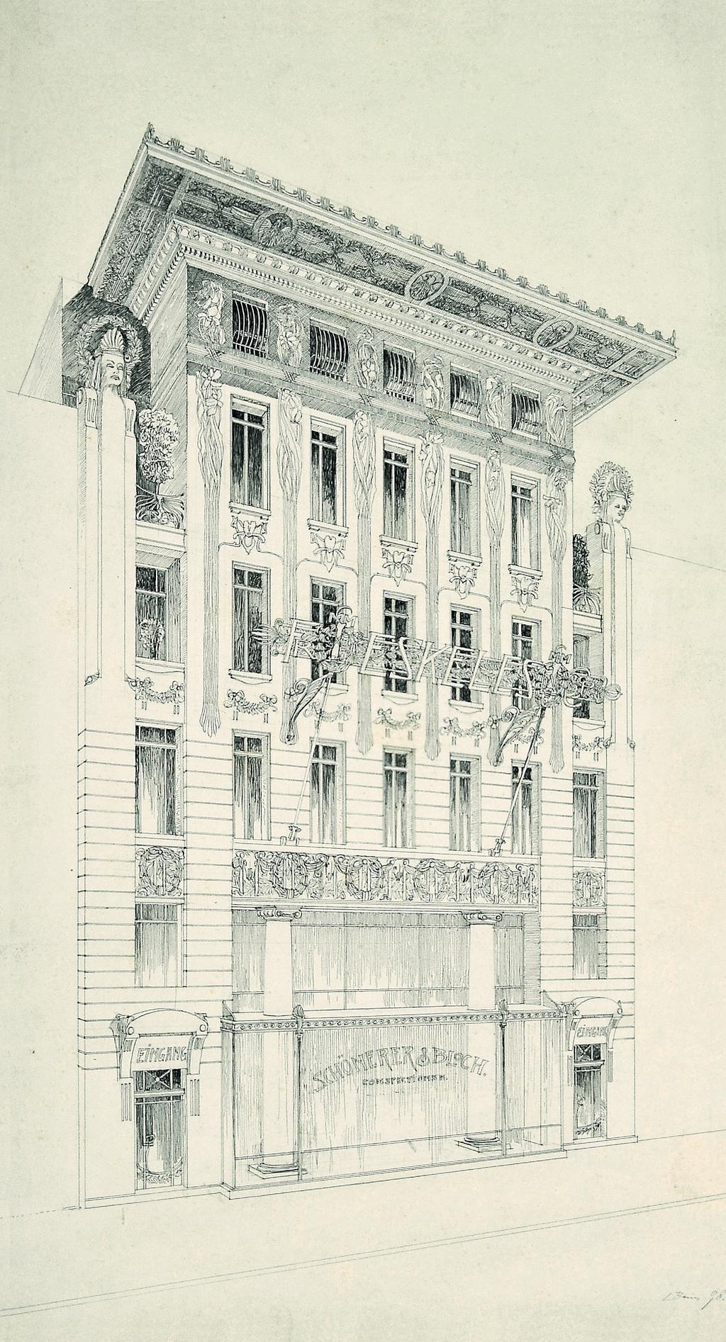 Fasáda obchodního a obytného domu ve Vídni