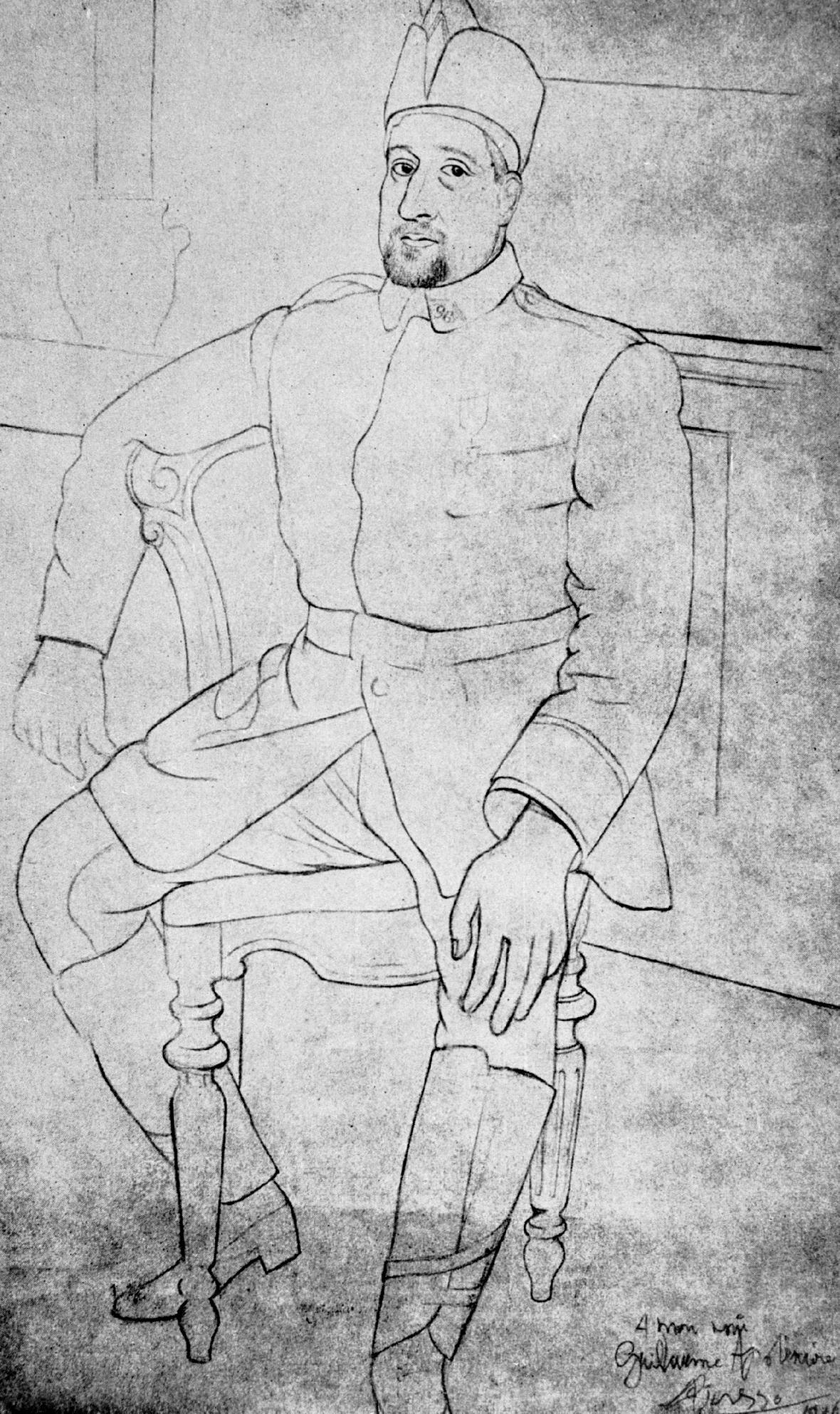 Guillaume Apollinaire na kresbě Pabla Picassa