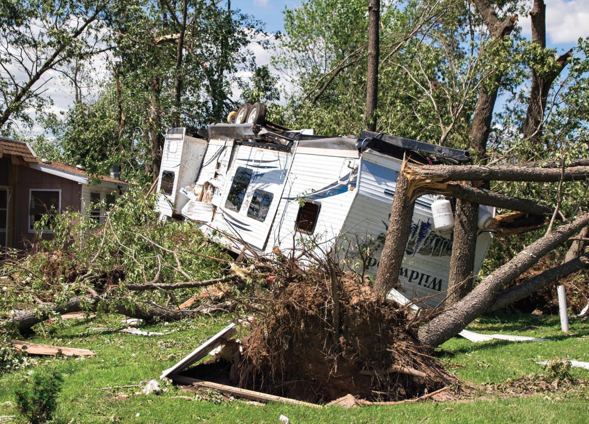 Následky silné bouře v Illinois