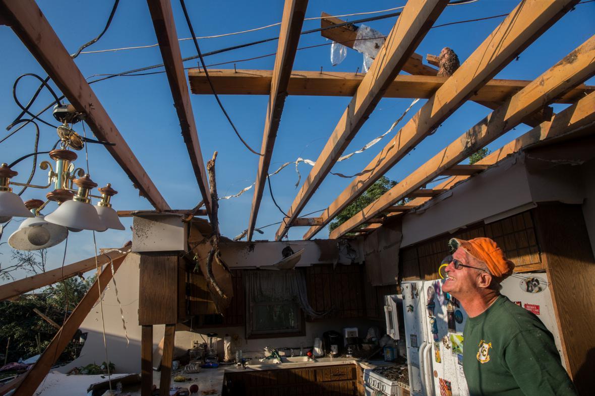Zničený dům v Coal City