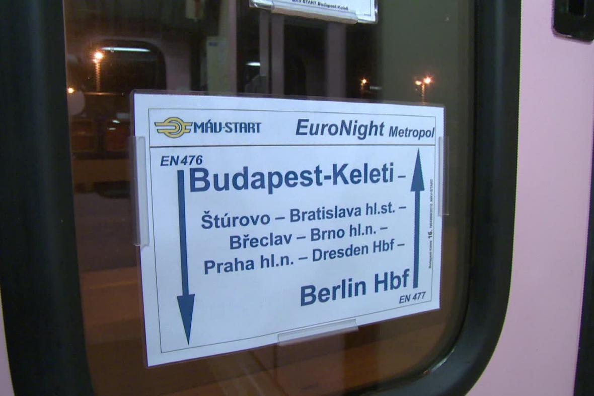 Noční vlak z Maďarska do Německa