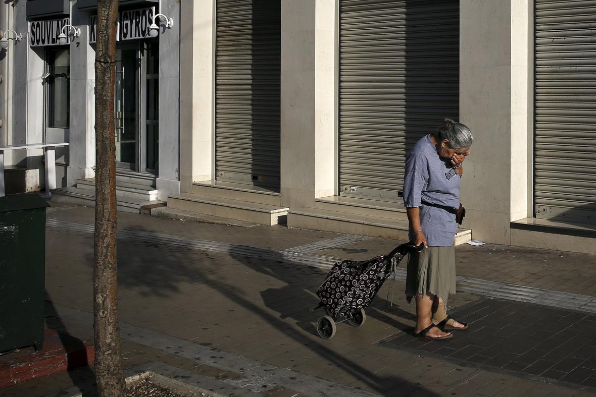 Zavřené banky v Athénách