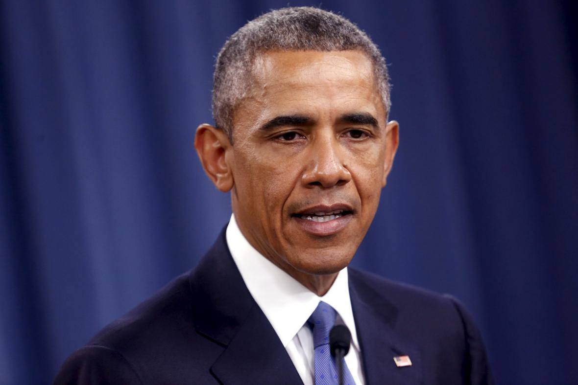 Prezident USA Barack Obama při projevu v Pentagonu