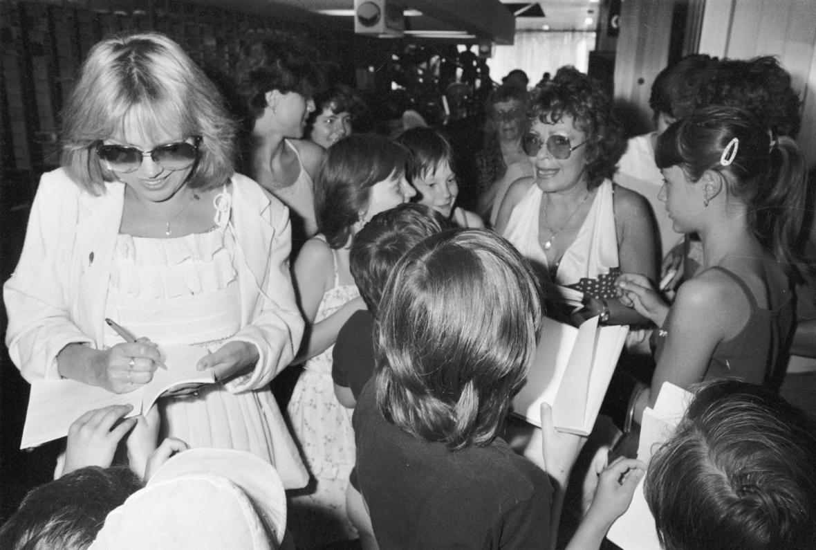 Dagmar Veškrnová a Jiřina Bohdalová na MFF Karlovy Vary (1984)