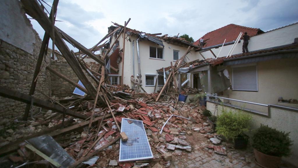 Následky tornáda ve městě Hamersheim