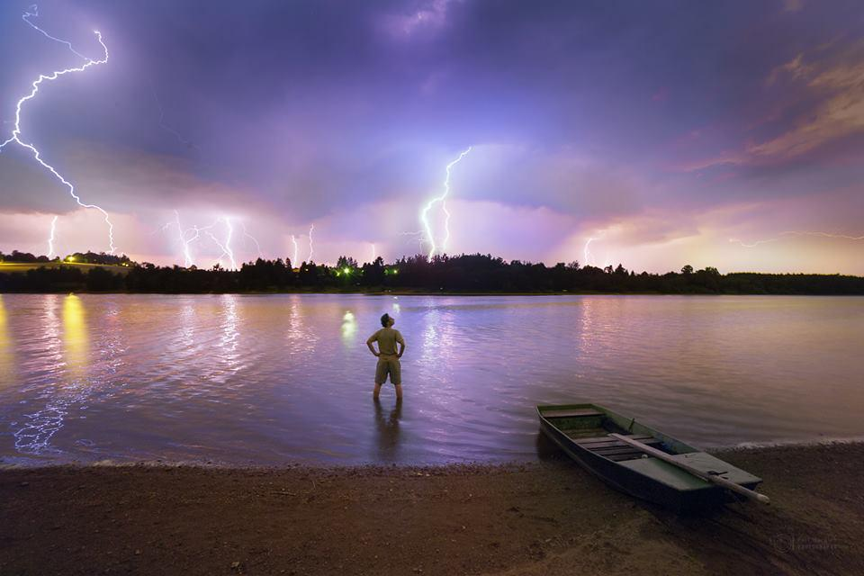 Noční bouřka nad Sečskou přehradou