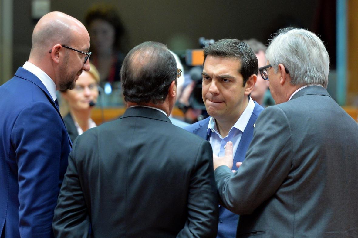 Mimořádný summit k Řecku (uprostřed Alexis Tsipras)