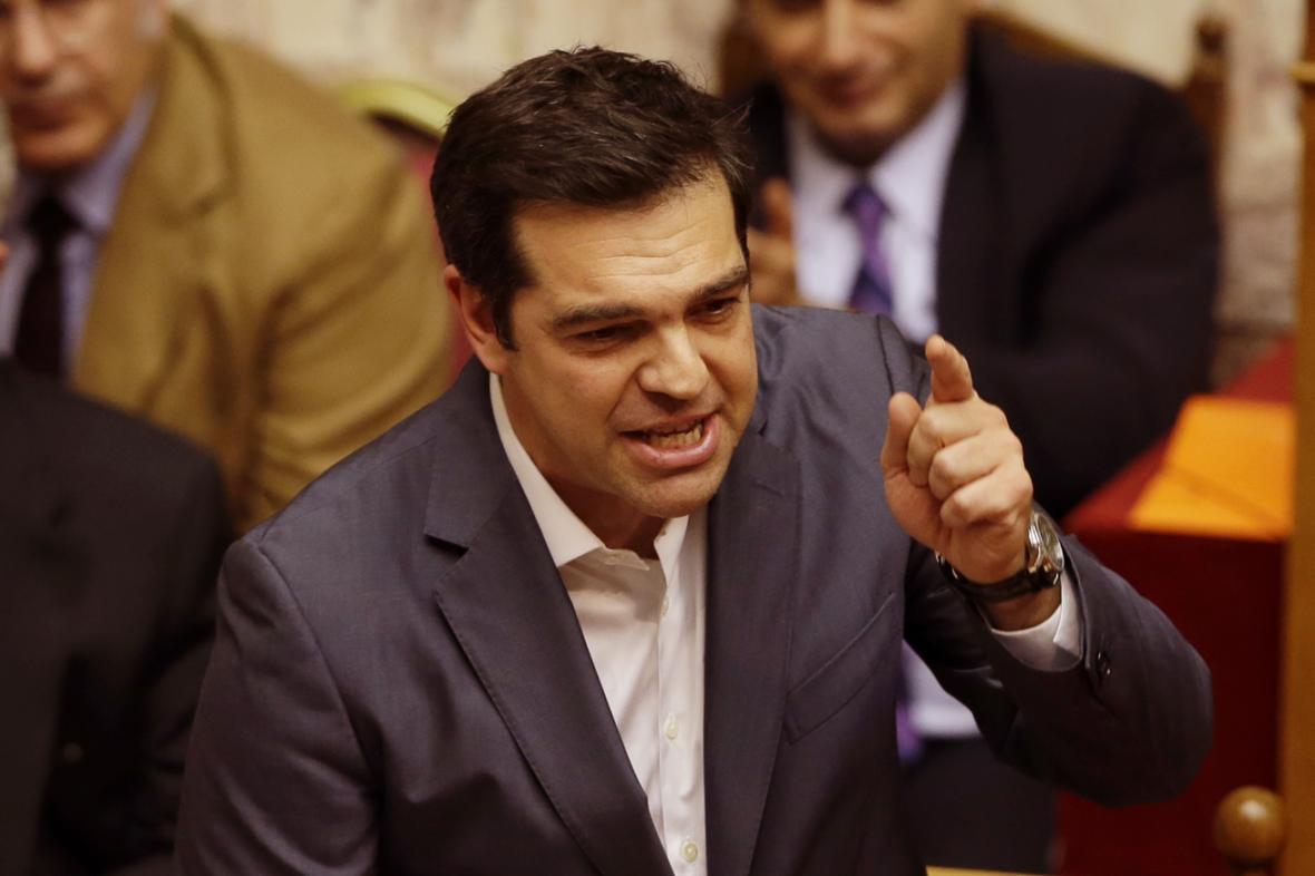 Řecký premiér Alexis Tsipras při projevu v parlamentu