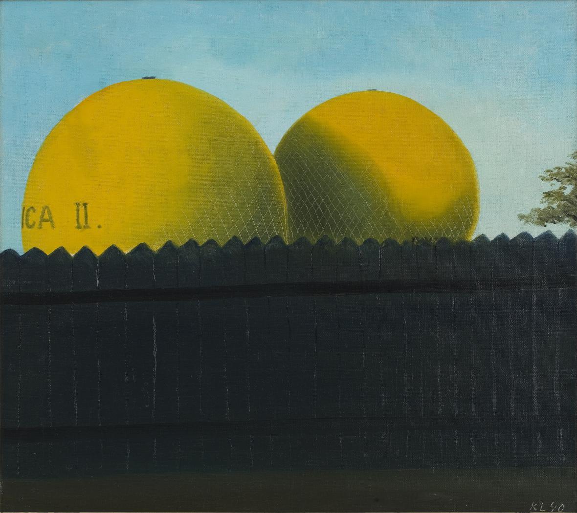 Kamil Lhoták / Dva balony za ohradou, olej na plátně, 1940
