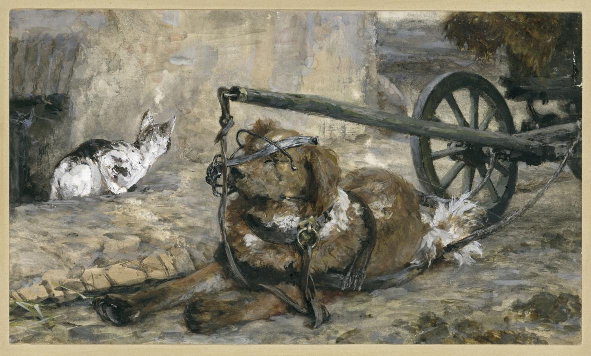 Adolph Menzel / Tažný pes a kočka (z dětského alba), 1863/83