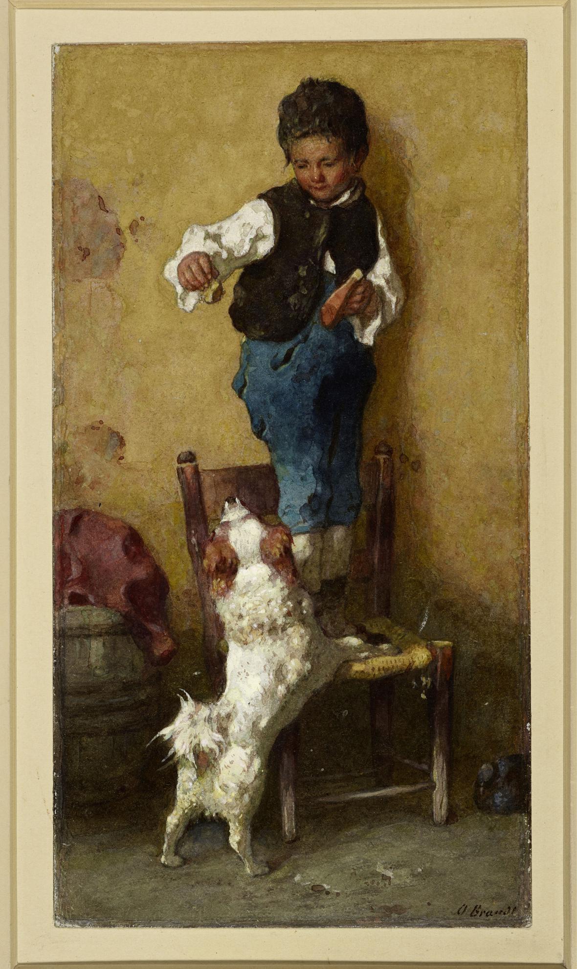 Otto Brandt / Chlapec se psem, kolem 1870-80