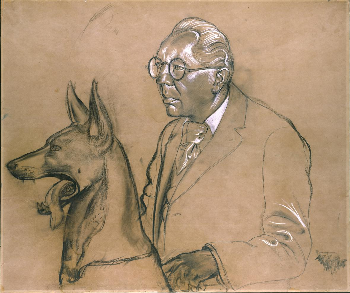 Otto Dix / Hugo Erfurth se svým pasteveckým psem Ajaxem, 1926