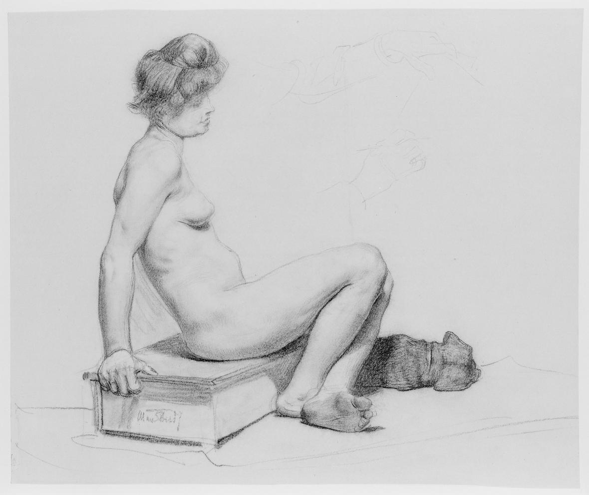Max Thedy / Akt se psem, 1880/1900