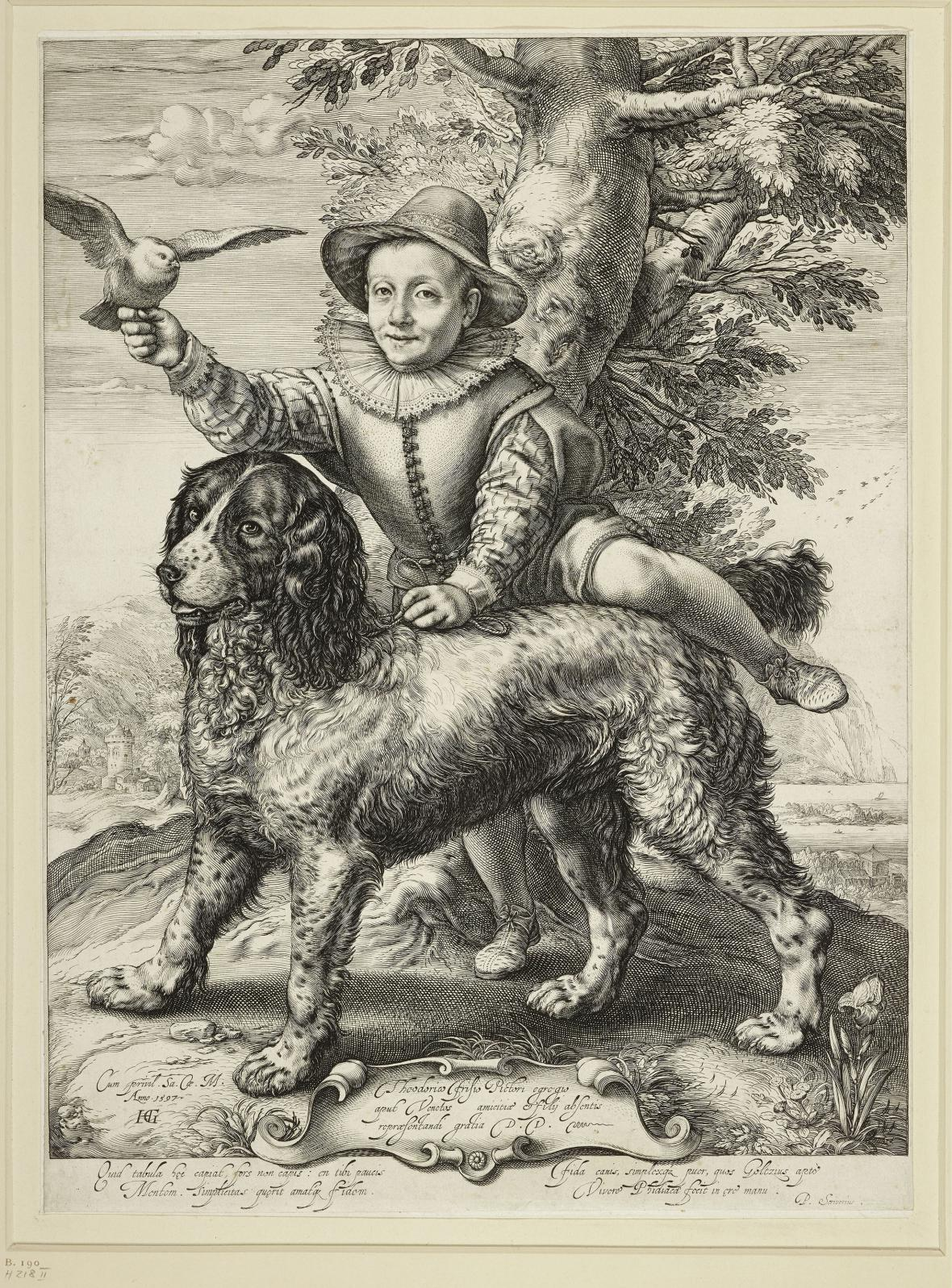 Hendrick Goltzius / Frederick de Vries se Goltziusovým psem, 1597