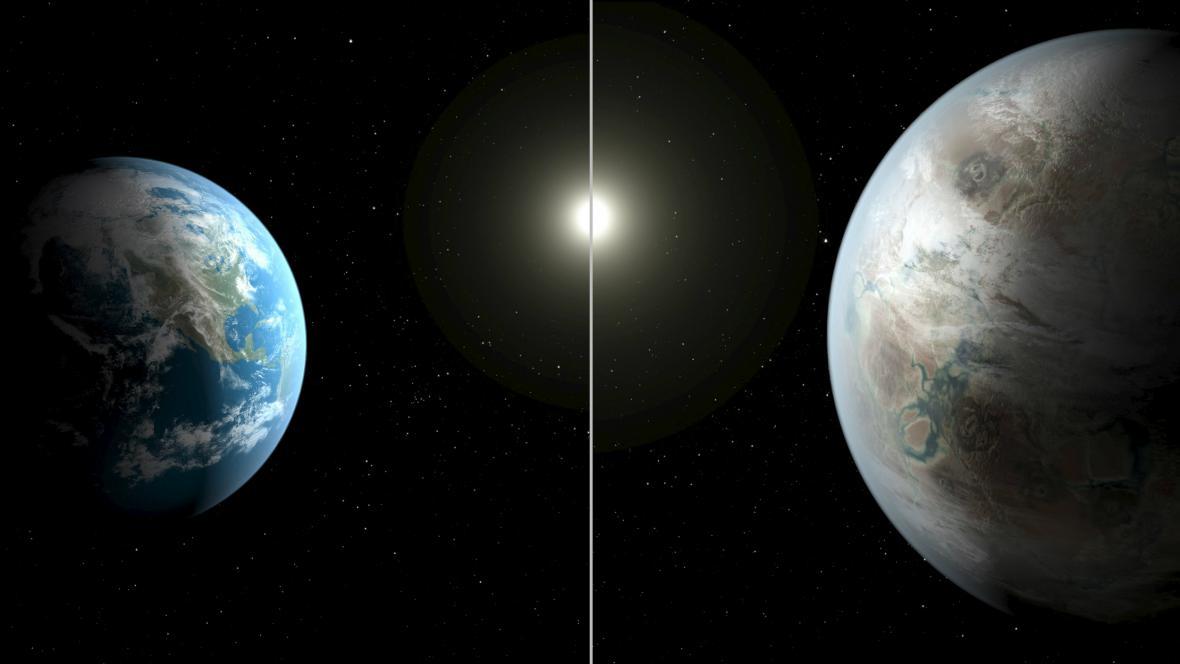 Srovnání Země a exoplanety Kepler-452b