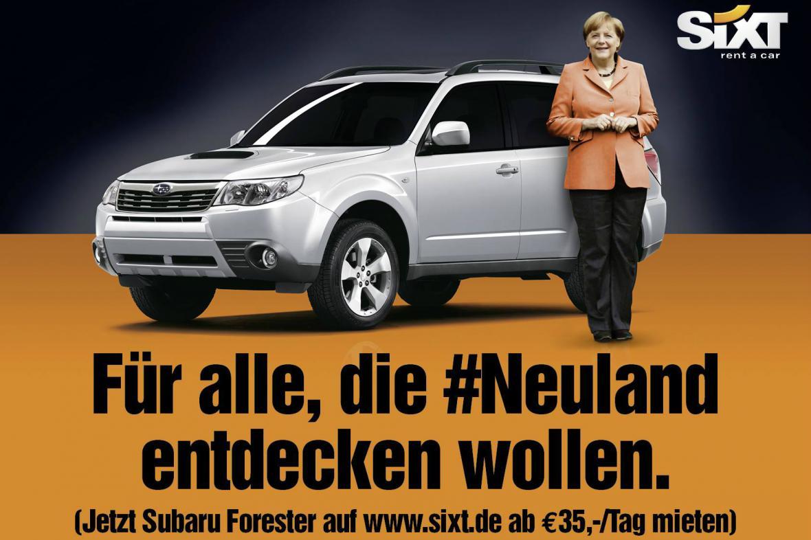 Merkelová v reklamě autopůjčovny Sixt