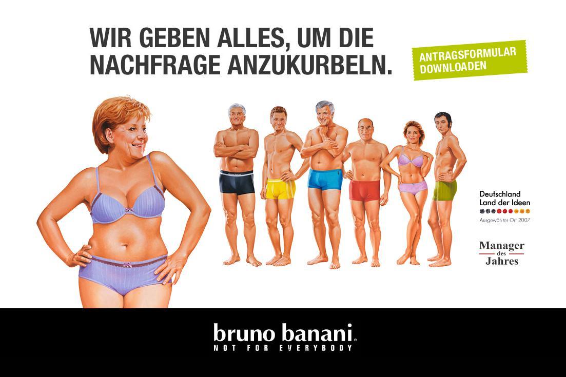 Merkelová v reklamě firmy Bruno Banani