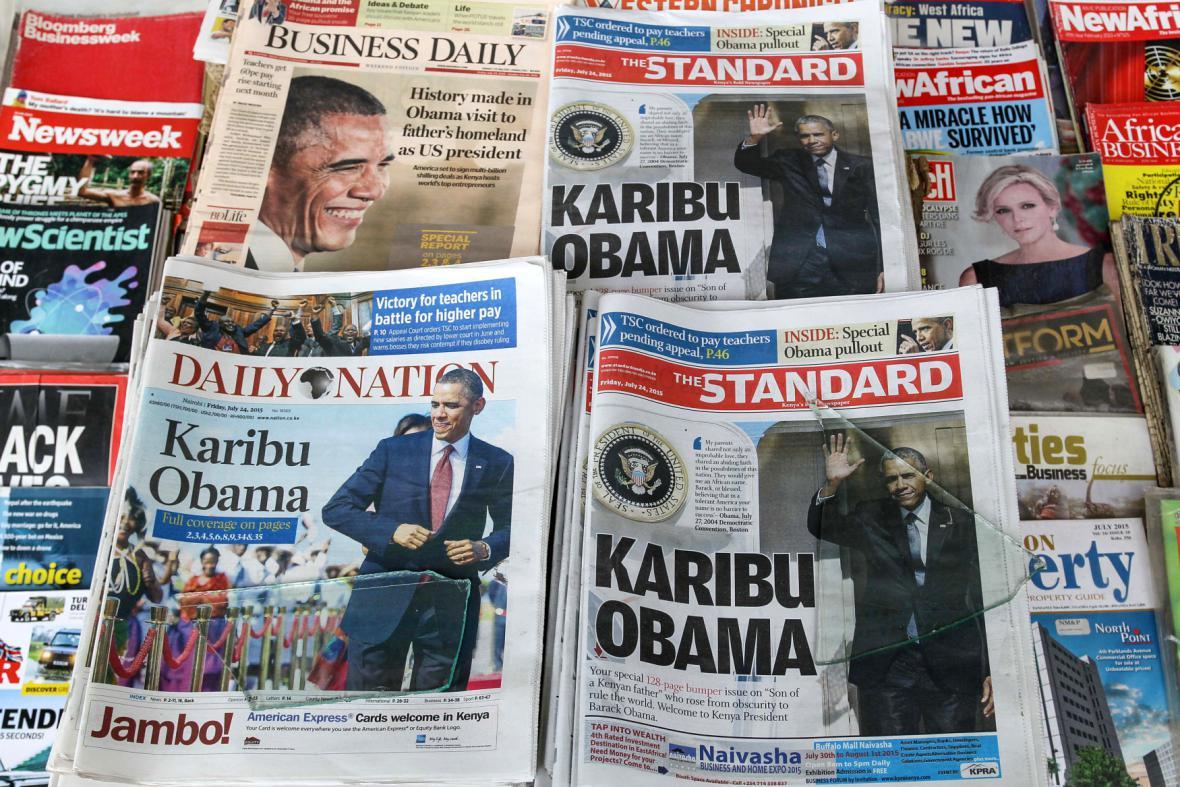 Návštěva Baracka Obamy v Keni je hlavním tématem tisku