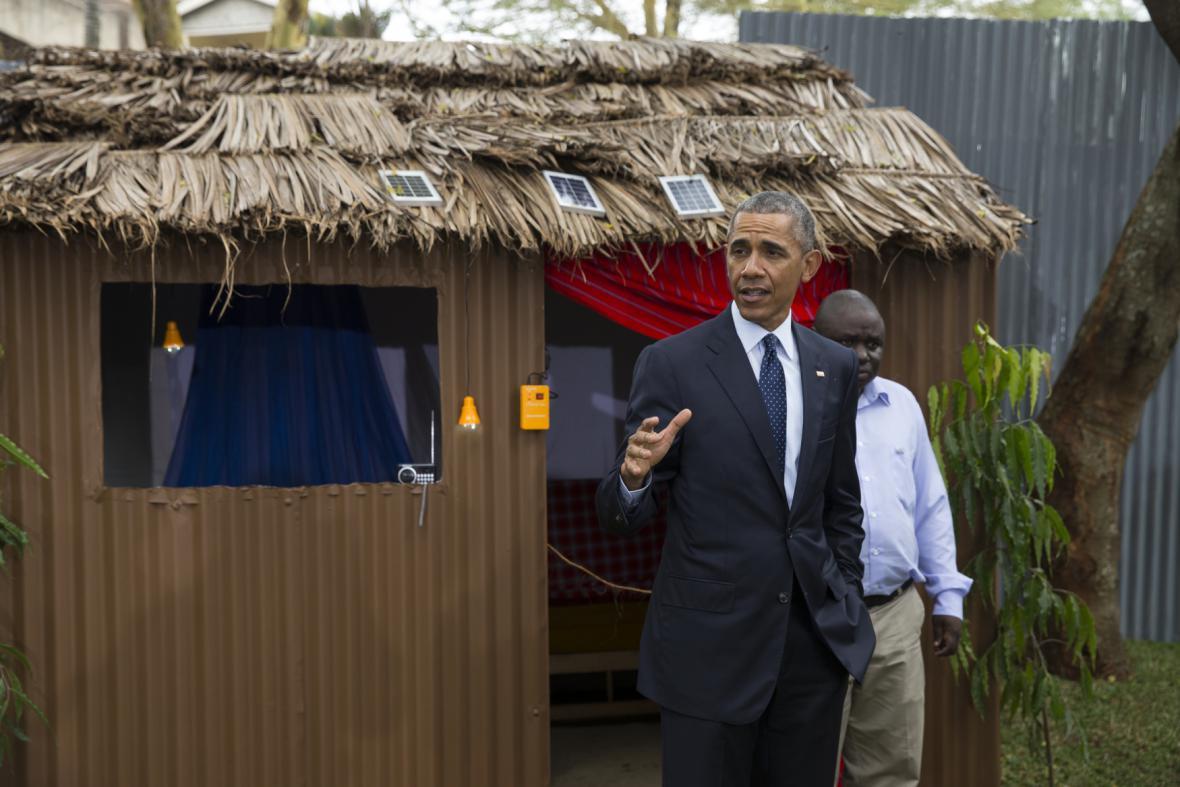 Barack Obama na veletrhu nových technologií v Keni