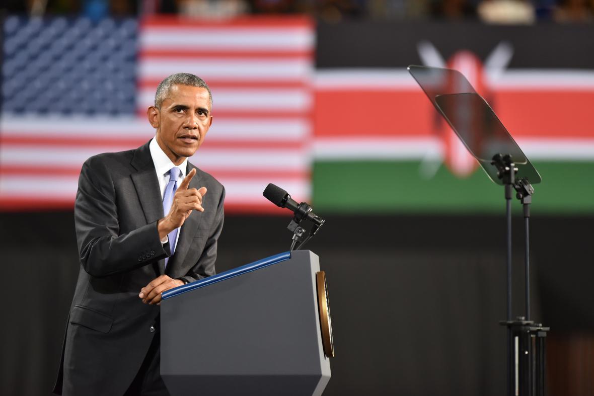 Obamův projev na keňském stadionu Kasarani