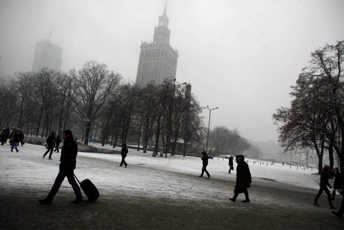 Zimní Varšava a její ikona - Palác kultury a vědy