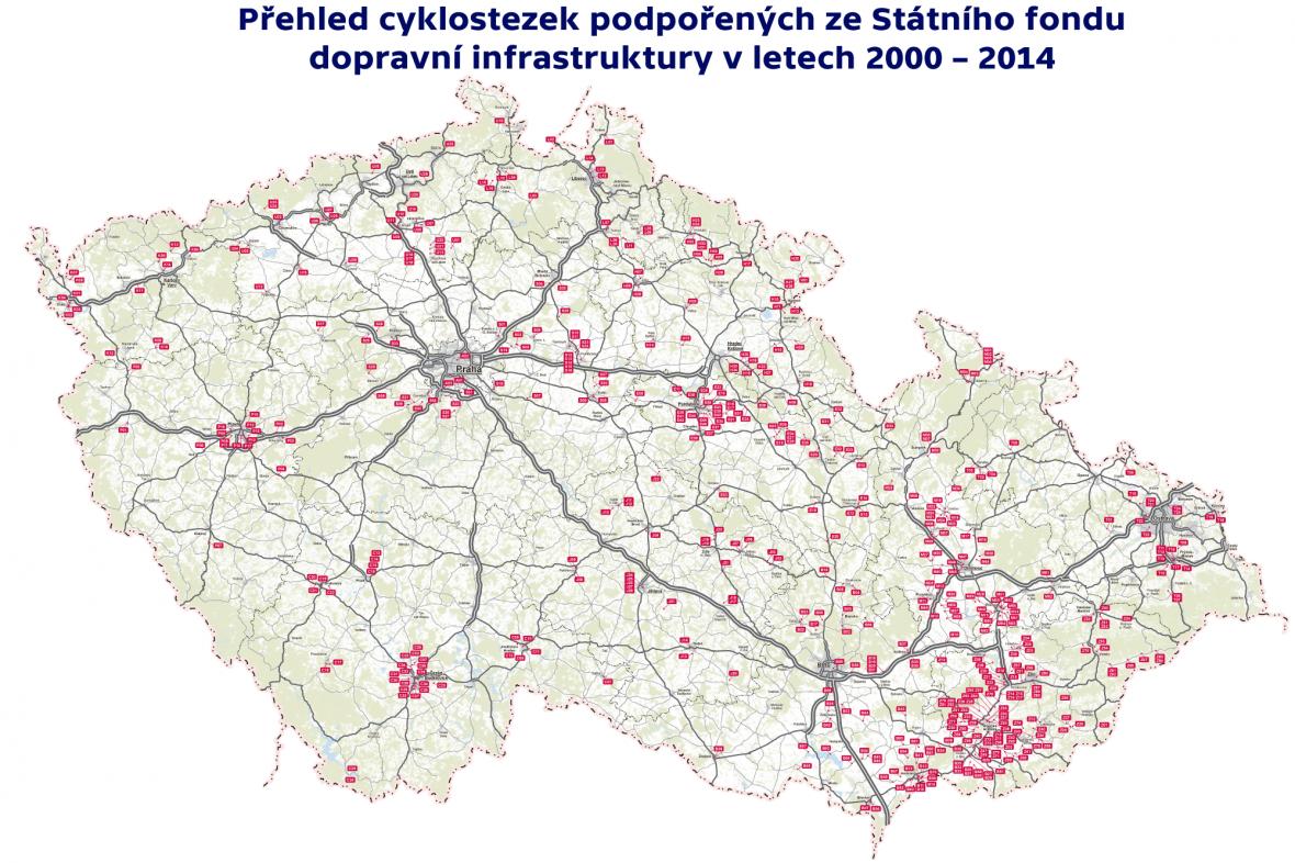 Přehled cyklostezek podpořených ze státního fondu dopravní infrastruktury