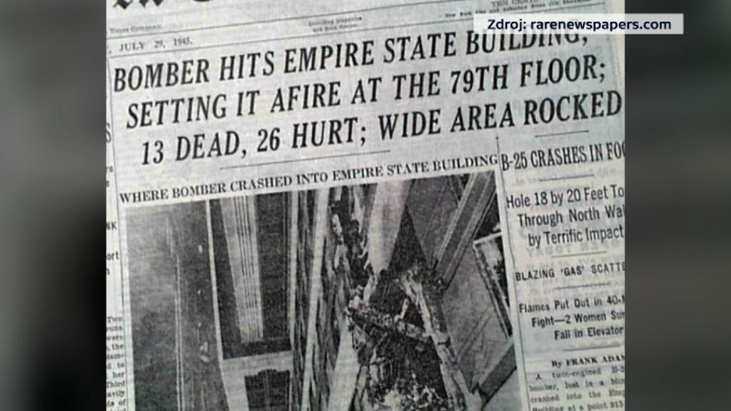 Tehdejší zpravodajství o nárazu letadla do Empire State Building
