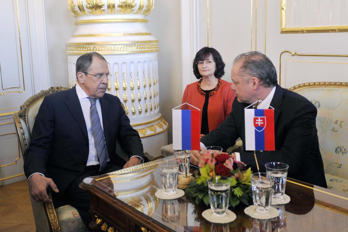 Sergej Lavrov při setkání s Andrejem Kiskou