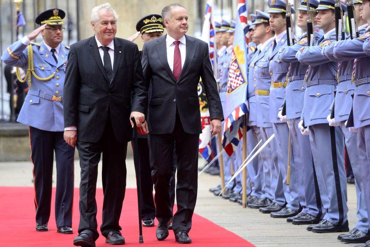 Miloš Zeman a Andrej Kiska na Pražském hradě
