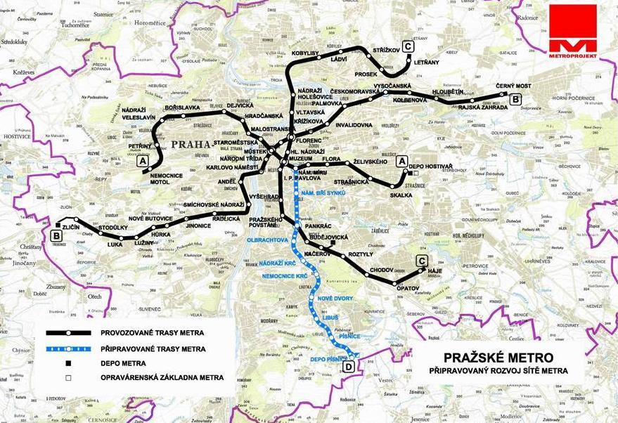 Plánovaná trasa metra D