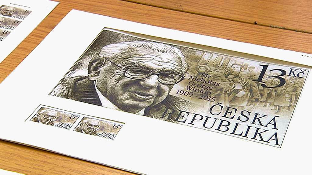 Motiv Nicholase Wintona pro poštovní známku