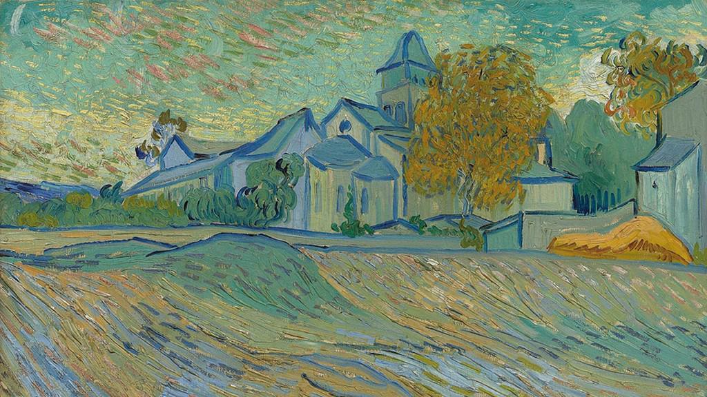 Vincent Van Gogh: Pohled na psychiatrický ústav a na kapli v Saint-Rémy