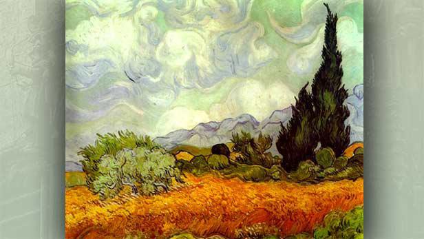 Kukuřičné pole s cypřiši (1889)