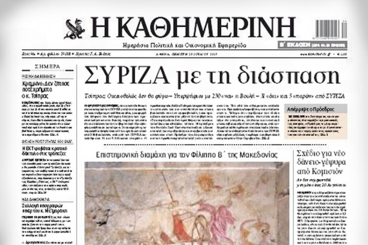 Deník Kathimerini z 23. července 2015