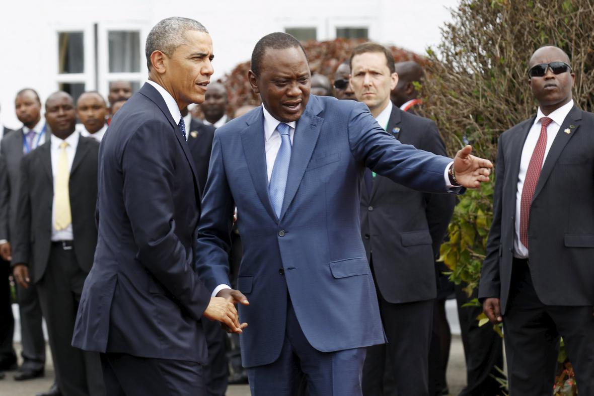 Prezident USA Barack Obama a prezident Keni Uhuru Kenyatta