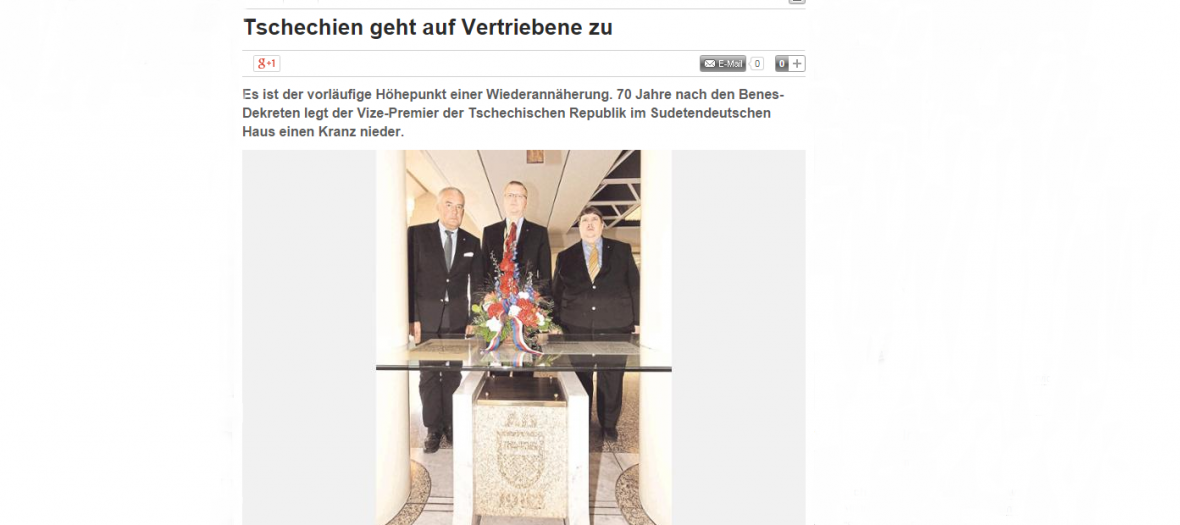 Ministr Pavel Bělobrádek jako první člen české vlády navštívil Sudetoněmecký dům v Mnichově