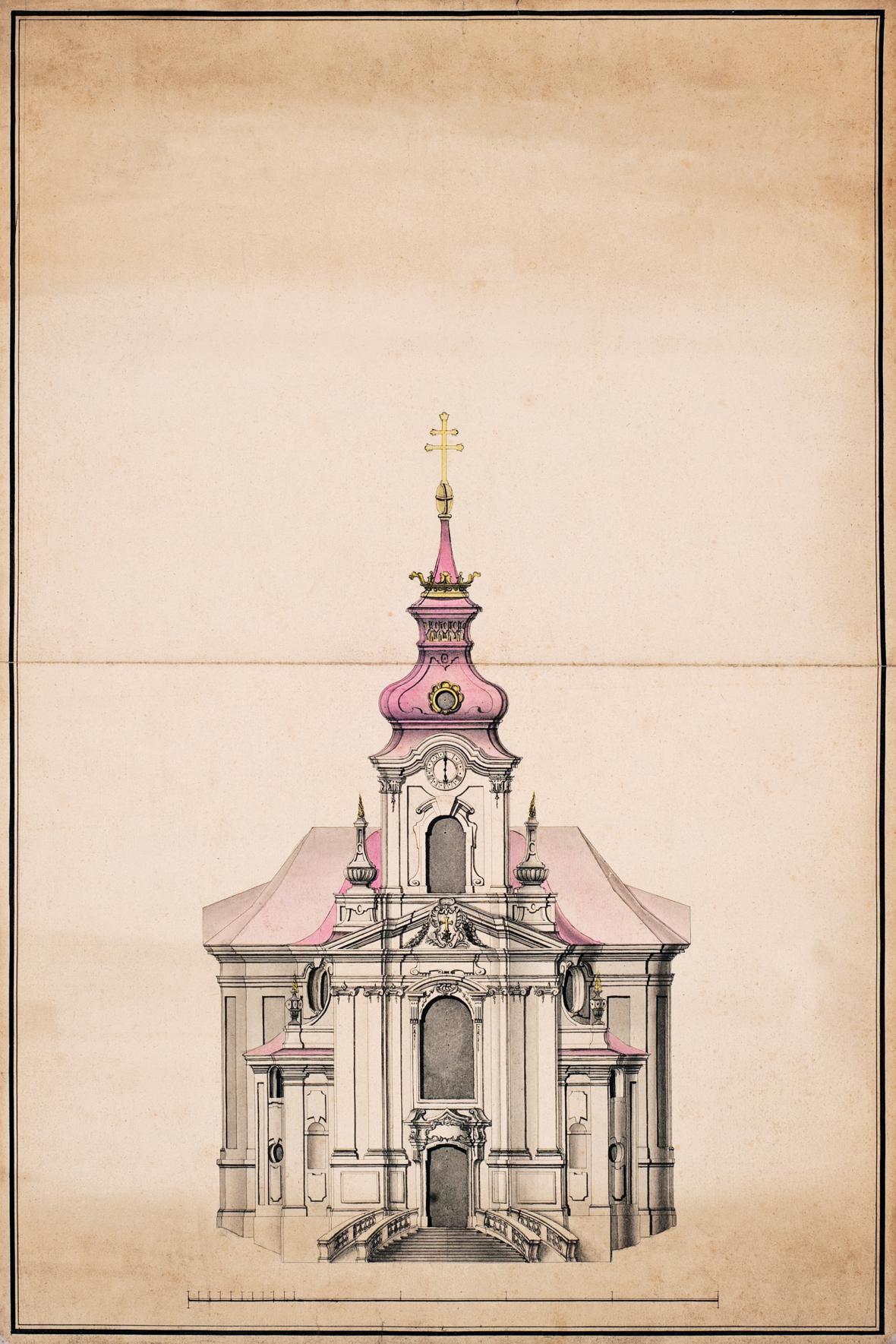 Nárys průčelí kostela sv. Máří Magdalény