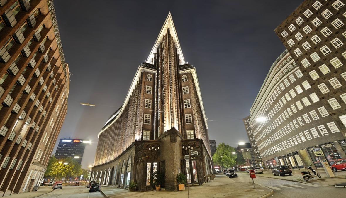 Čtvrť Kontorhausviertel v Hamburku