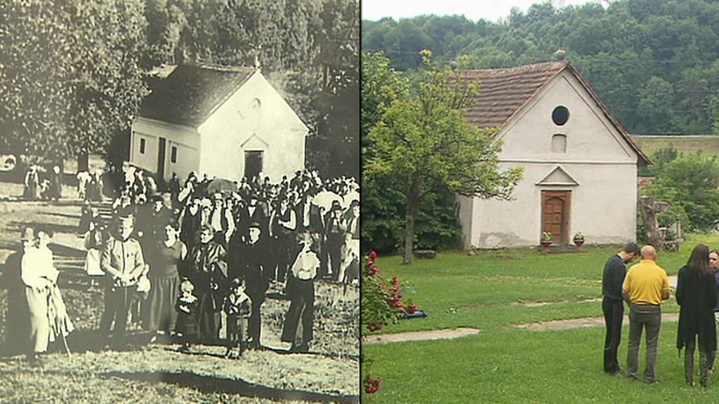 Porovnání fotografie Vítězslava Kneifla se současnou podobou Rudniku