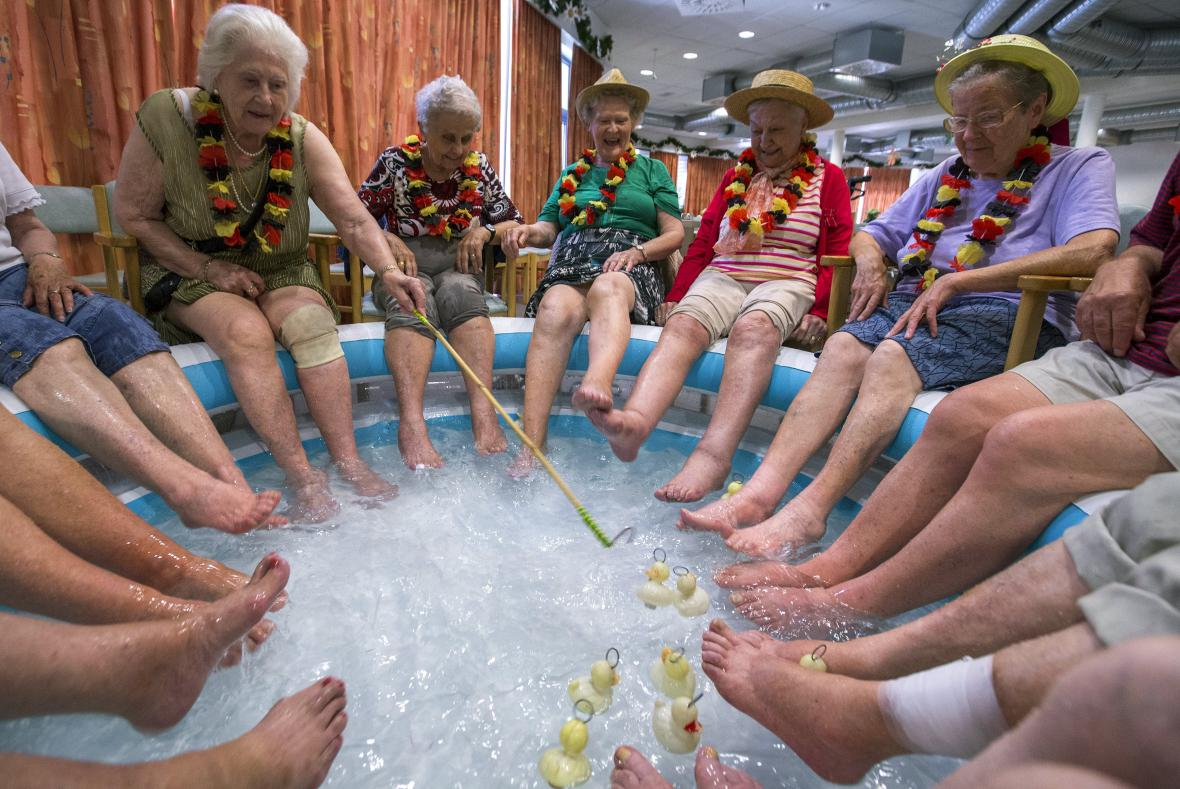 Horko v domově pro seniory v belgickém Grimbergenu
