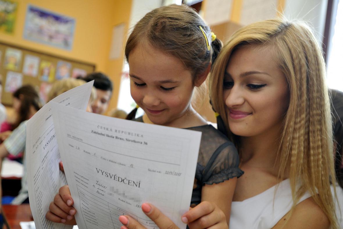 Vysvědčení na ZŠ Sirotkova v Brně