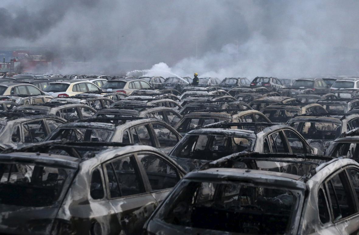 Následky výbuchu v Tchien-ťinu